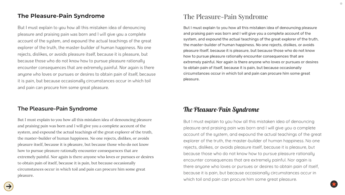 Compare fonts and font pairs on the same page